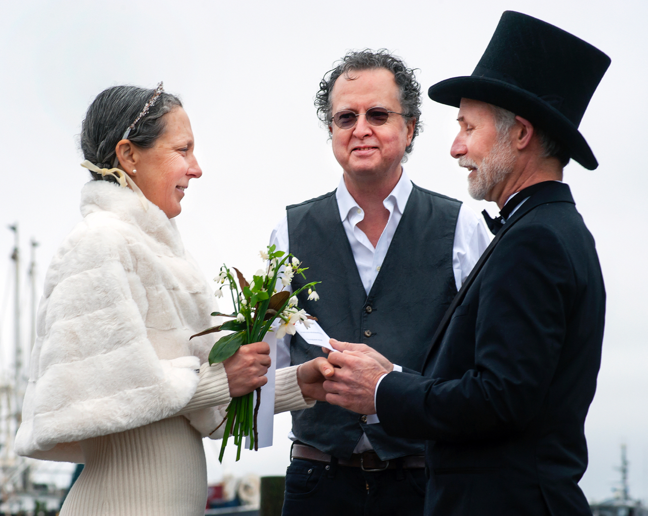Bernie Harberts, Julia Carpenter, reading wedding vows