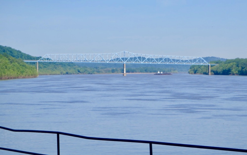 Bernie Harberts, mule, trail ride, ohio river, bridge
