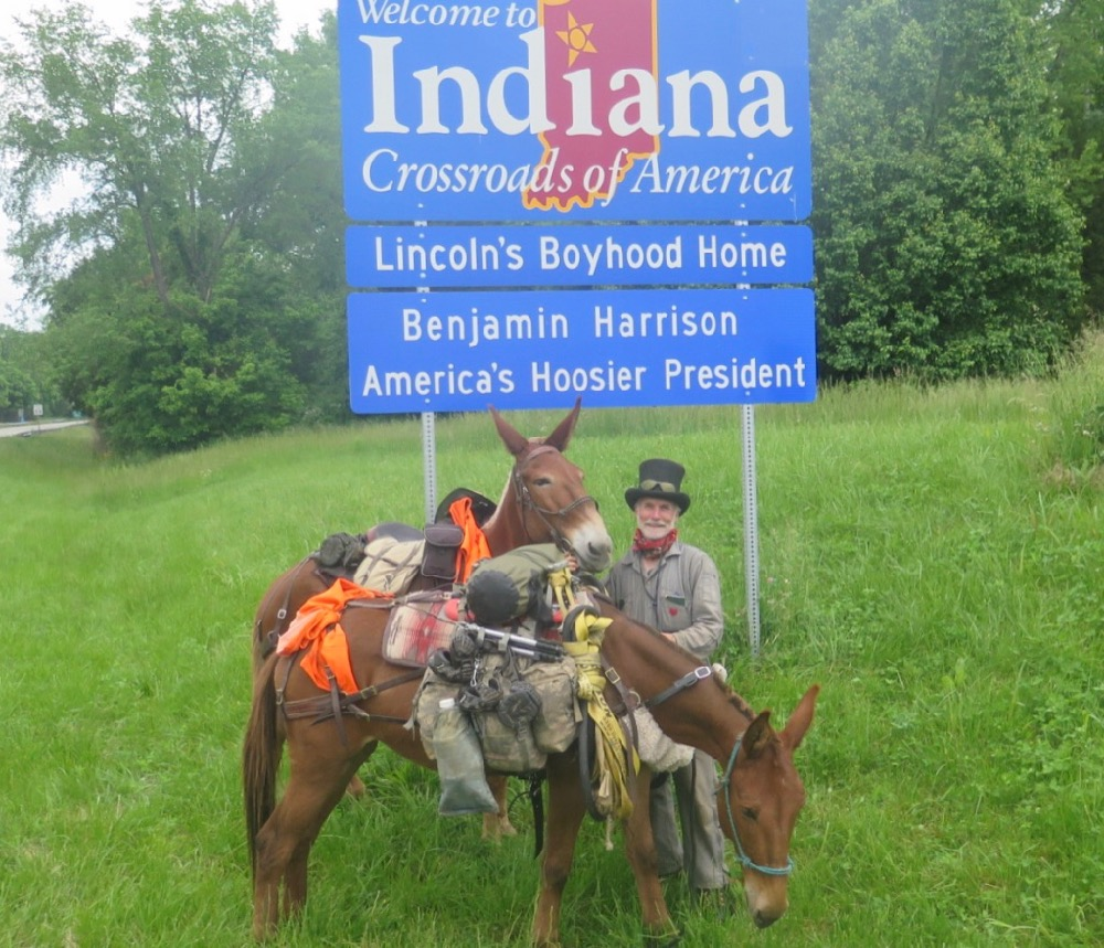 Bernie Harberts, mule, trail ride, indiana state sign